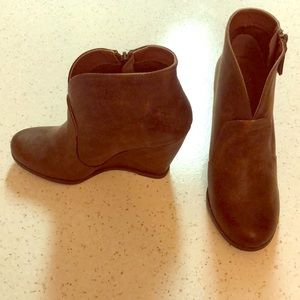 Brown leather wedge booties